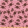 Hearts and Skulls Flannel Allover Dark Pink/Chocolate