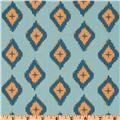 Annette Tatum Boho Karma Sea Blue sewing fabric blue peach colors