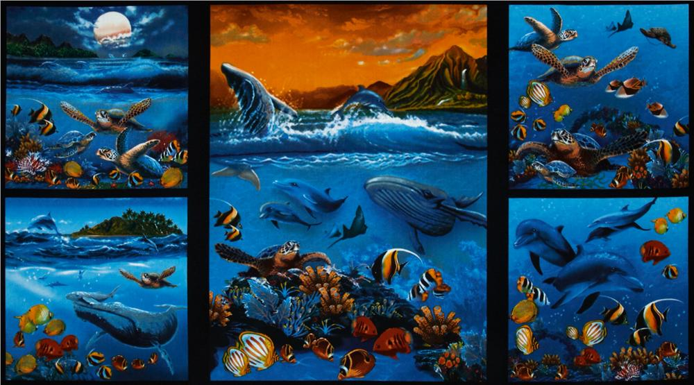 rainbow cove sea panel ocean sewing fabric with sealife