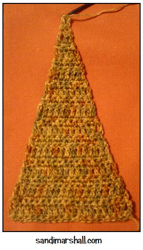 Made with multicolor yarn in the Even Taller Crocheted Triangle set of instructions